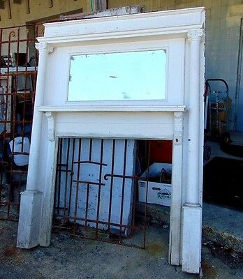 Tall Antique Carved Oak Fireplace Mantel Mirror-Architectural Salvage