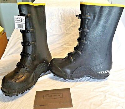 """Lacrosse Tracktion  12"""" Studded Rubber Overshoe 5 Buckle 367150 Over Boots NWT"""