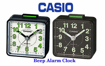 Casio TQ140-1B Travel Quartz Analogue Glow In Dark Bedside Desk Beep Alarm Clock