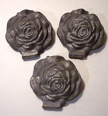 """antique rose pewter ice cream mold S Co Schall USA hinged 4"""" no 582 one of 3"""