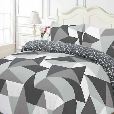 Duvet Cover Pillow Case Geometric Shapes Black Grey White Reversible Bedding Set
