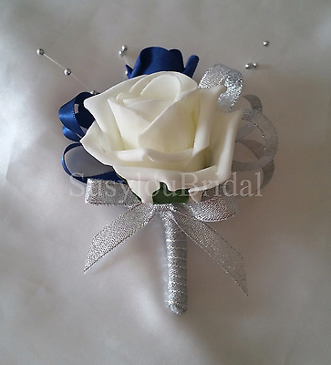 Luxury Pin On Corsage Ivory Silver Navy Diamante Silver Ball Spray Wedding