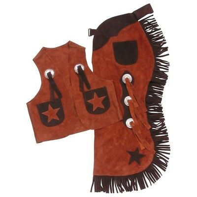 Tough-1 Youth Vest & Chap Set w/ Stars Small Rust