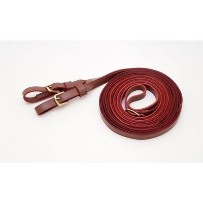 """NEW Tough-1 Leather Harness Driving Reins 11 Foot Length 3/4"""" Wide Natural"""