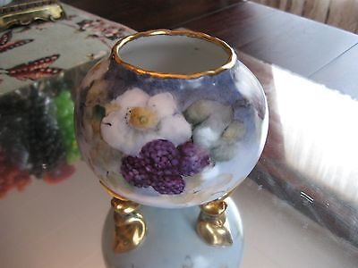 Exquisite!  Antique   Artist    Signed  Hand Painted  Porcelain Rose Bowl Vase