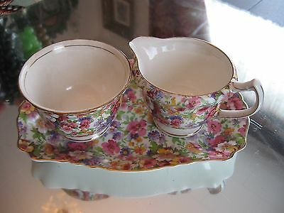 Antique/vintage Kent Old Foley ''du Barry'' Chintz Cream And Sugar And Tray Set