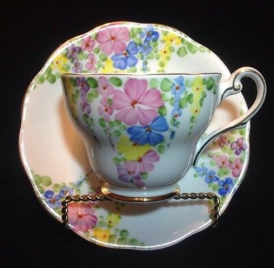 Vintage Teacup And Saucer Bone China Hand painted Made In England