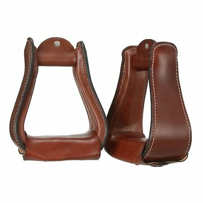 Tough-1 Wide Leather Covered Stirrups Dark Oil