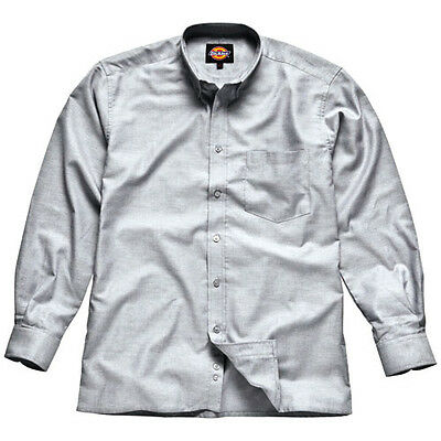 Dickies Mens Oxford Weave Long Sleeve Shirt Silver Grey Size 17.5