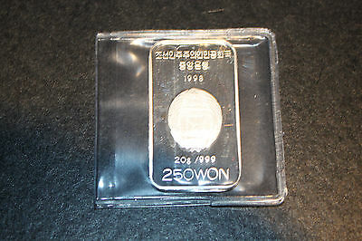 1998 Korea 250 won silver proof Millennium Rectangular Coin RARE
