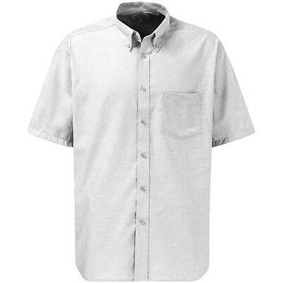 Dickies Mens Oxford Weave Short Sleeve Shirt White Size 18.5