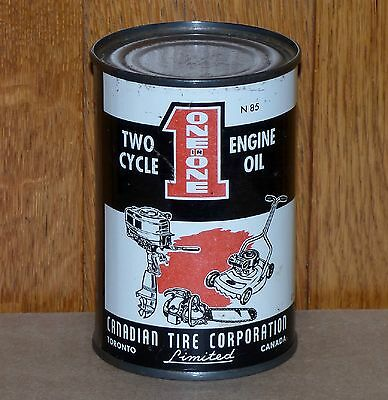 Rare full Canadian Tire One in One 10oz outboard motor oil tin can FREE SHIP!
