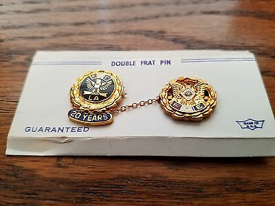 FOE Fraternal Order Eagles  20 Year Double Pin, New