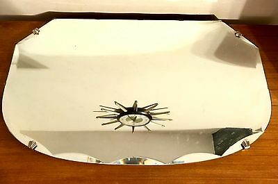 Vintage Retro Shield Bevelled Glass Mirror On Chain Art Deco Detailing