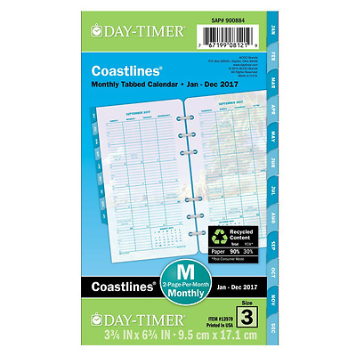 Day-Timer Monthly Planner Refill 2017, Two Page Per Month, Coastlines, Portable