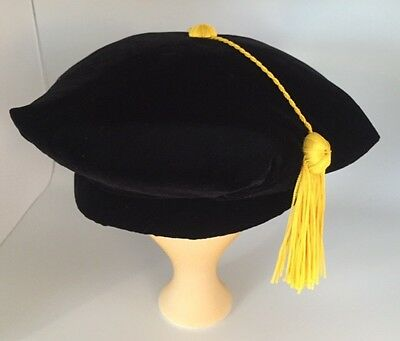 Graduation Doctoral Tam Black Velvet Faculty PhD w/ Gold SilkyTassel -S/M