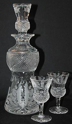 "Edinburgh Thistle Cut Glass 11 1/2"" Decanter And 2 Sherry Stems Made In Scotland"