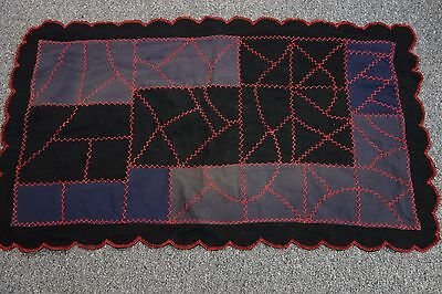 Victorian Quilted Wool Table Runner- 23x42-Black,Gray,Navy,Red- RUSTIC LOOK-SALE