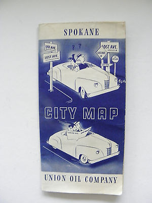 Vintage Union Oil Company Spokane City Map 1940's