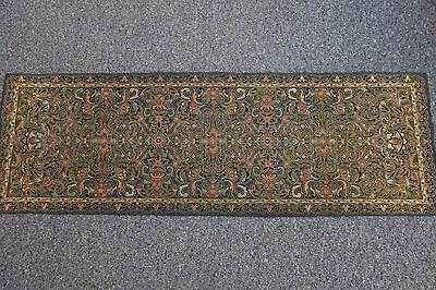 1920's Floral Tapestry Runner-15x46-Gray w/Pink,Black,Gold Metallic,Cream-ORNATE