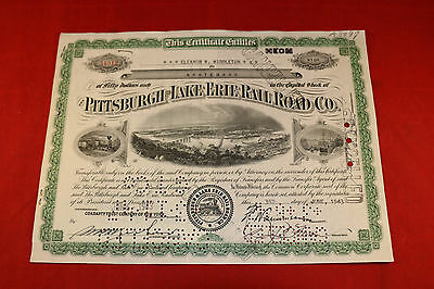Pittsburgh Lake Erie Railroad Company  Stock Certificate 1943 10 shares