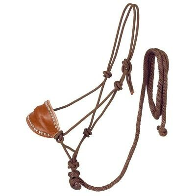 Tough-1 Poly Rope Halter W/Horsehair Bronc Nose & Lead Brown