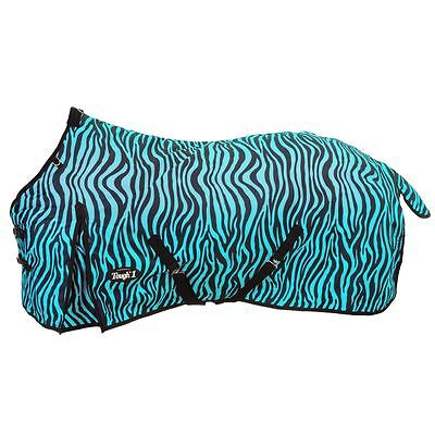 "Tough-1 600D Print Waterproof Poly Turnout Blanket 84"" Turquoise Zebra"