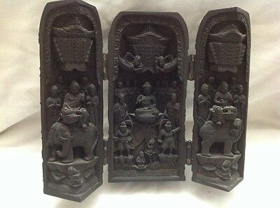 Vtg Chinese Carved Triptych Hinged Temple Shrine Budha Foo Dog Religious Display