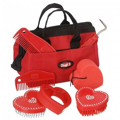 Tough-1 8 Piece Crystal Heart Grooming Kit Red