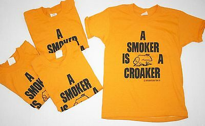 VTG! 70's Lot of 4 ! A Smoker is a Croaker Frog Novelty T Shirts Sz Youth Medium