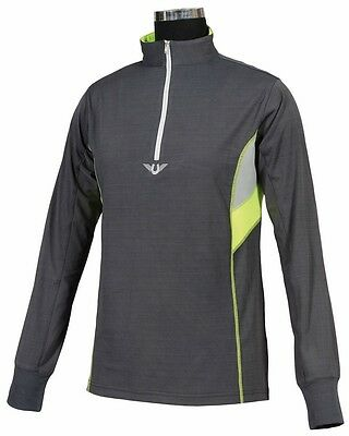 Tuffrider Neon Ventilated Mock Zip L/S Charcoal+Neon Yellow Medium Ch