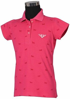 Tuffrider Madelyn Polo Shirt Child S/S Hot Pink X Large Ld