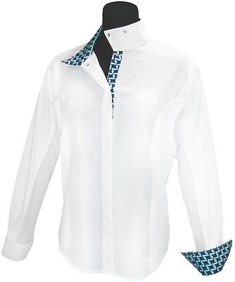 Equine Couture Geo Show Shirt White 12 Ch