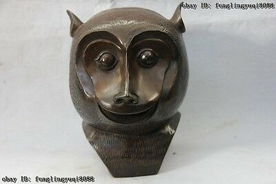 8 8 China Copper Bronze Famous Feng Shui lucky Twelve Zodiac Monkey Head Statue