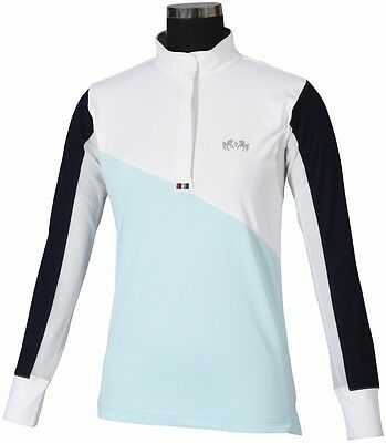 Equine Couture Ladies Sawyer Show Shirt (White/Blue Glass, L)