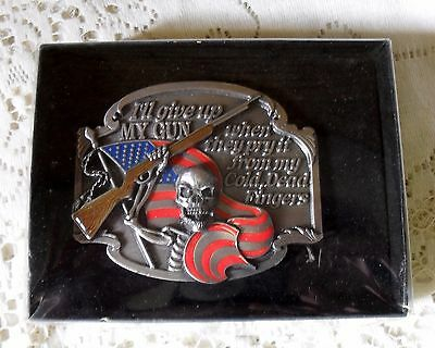 Vintage Siskiyou Usa 1995 I'll Give Up My Gun When They Pry It . . . Belt Buckle
