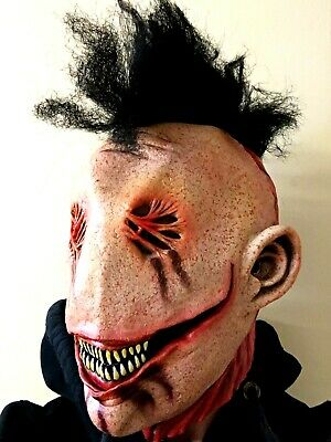 Scary Halloween Mask Bloody Face Smile Black Mohawk Costume Accessory