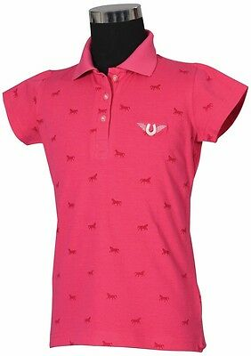 Tuffrider Madelyn Polo Shirt Child S/S Hot Pink Large Ld