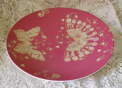 ROYAL ALBERT ZANDRA RHODES MY FAVOURITE THINGS 36cm PINK BUTTERFLY PLATTER DISH