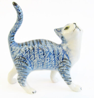 Miniature Ceramic Cat Figurine, Blue Tabby with White
