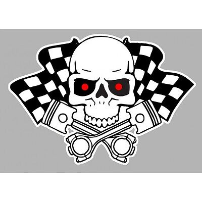 Sticker Skull crossed pistons Flags