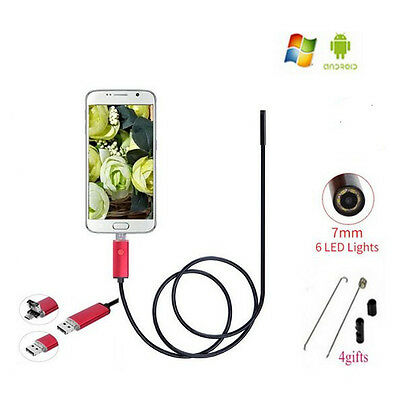 7mm Endoscope HD USB PC Android Phone 2IN1 Borescope Endoskop Tube Pipe Camera
