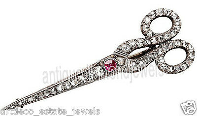 1.90cts ROSE CUT ROUND DIAMOND RUBY .925 STERLING SILVER BROOCH PIN