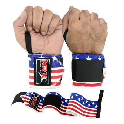 """Weight Lifting Training Wrist Support Wraps Gym Elasticated Straps Us Flag 18"""""""