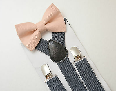 Kids Boys Charcoal Gray Suspenders & PALE Blush Pink Bow tie SET Infant - ADULT