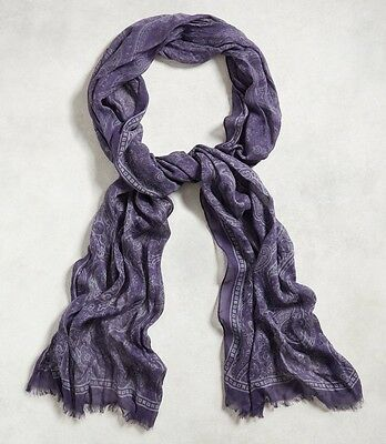 John Varvatos Collection Men's Purple Paisley Scarf Made in Italy $198 msrp NWT