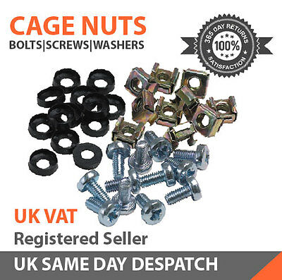 """20 Pack of M6 Cage Nuts Screws Washers 19"""" Data Network Rack Cabinet Mount Bolts"""