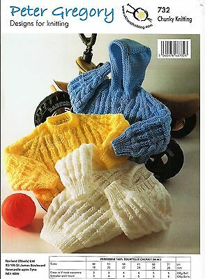 Peter Gregory Childrens Baby Chunky Sweaters & Hoody Knitting Pattern - PG 732