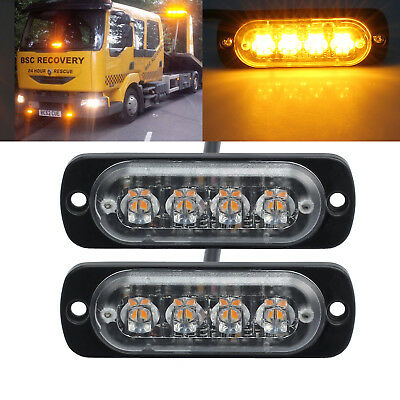 2X 12/24V Amber Recovery Strobe Cree 4Led Light Breakdown Flashing Lamp Uk