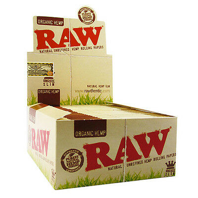 RAW ORGANIC Hemp King Size Slim Genuine Natural Unrefined Rolling Papers 5 10 25